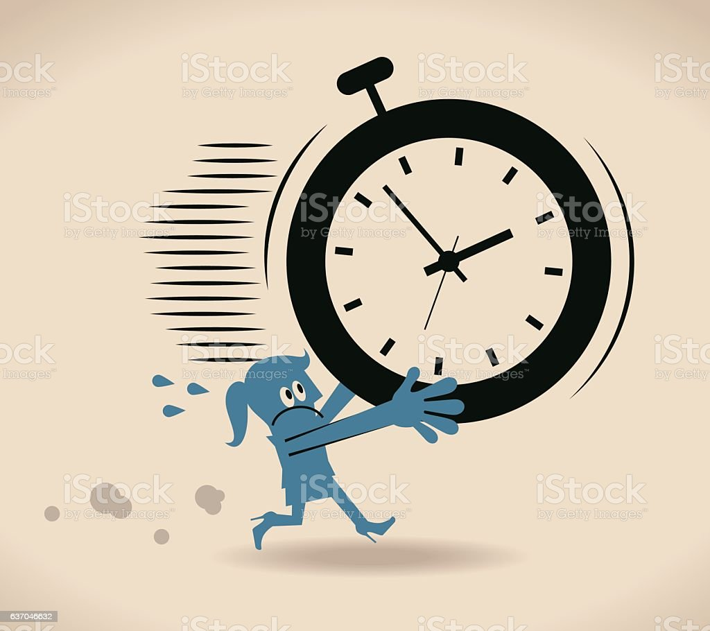 Businesswoman running out of time vector art illustration