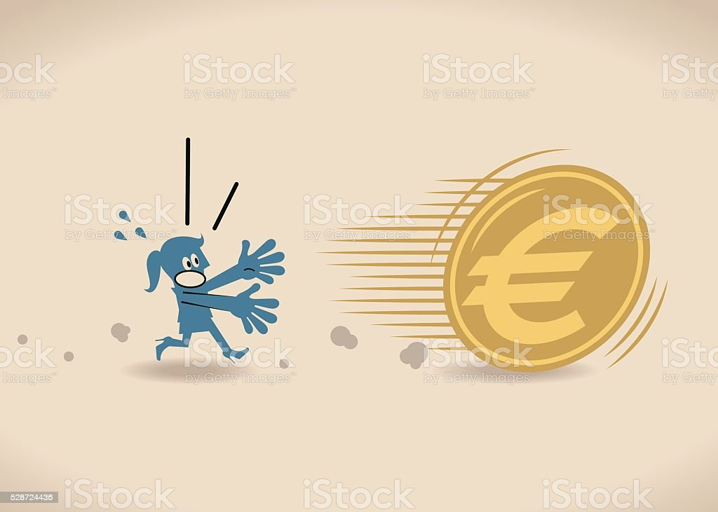 Businesswoman running to catch big money (Euro sign currency coin) vector art illustration
