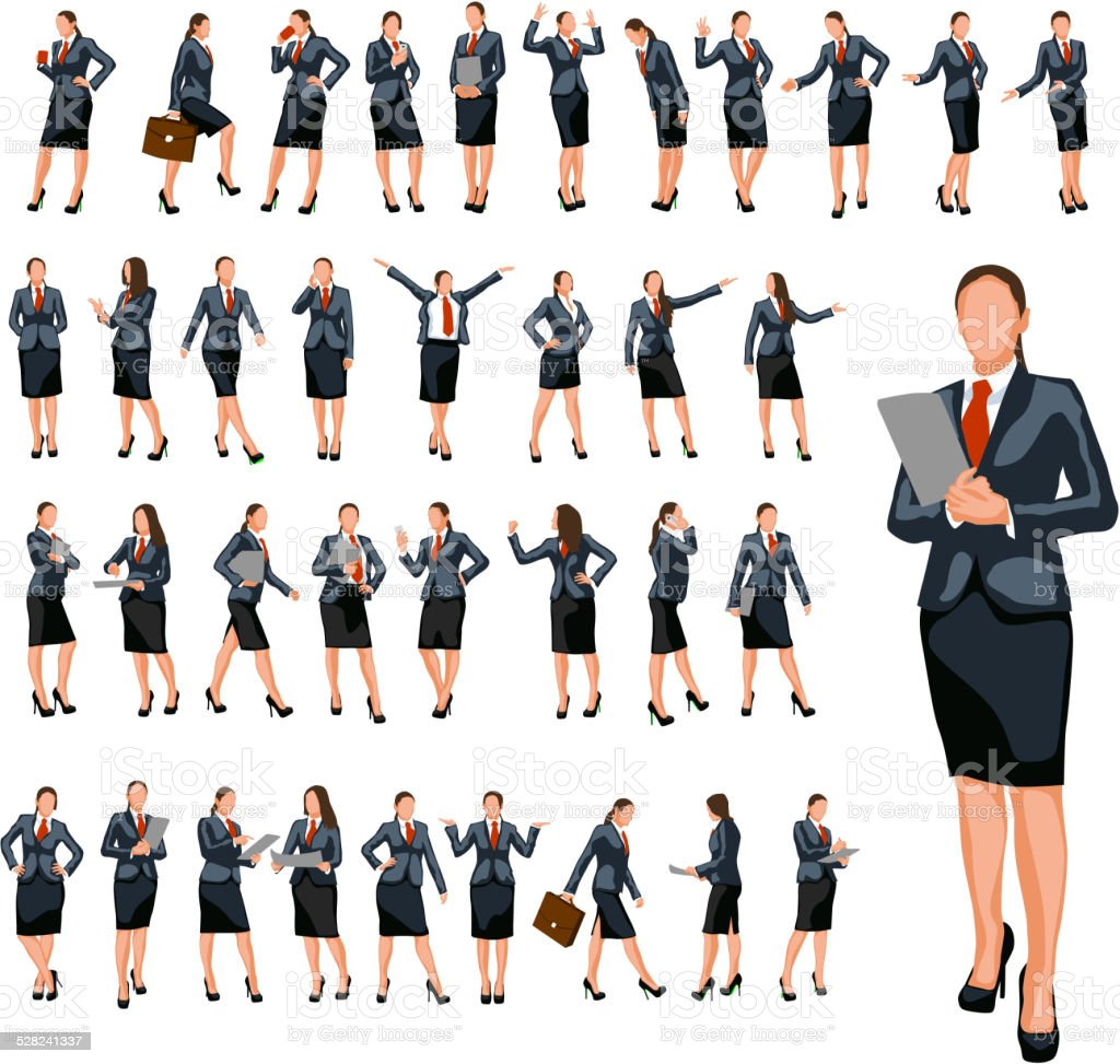 businesswoman set 4 vector art illustration