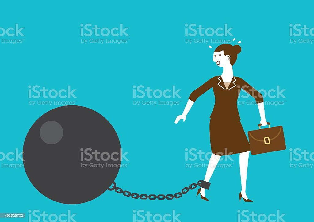 Businesswoman Shackled by Iron Ball and Chain | New Biz vector art illustration