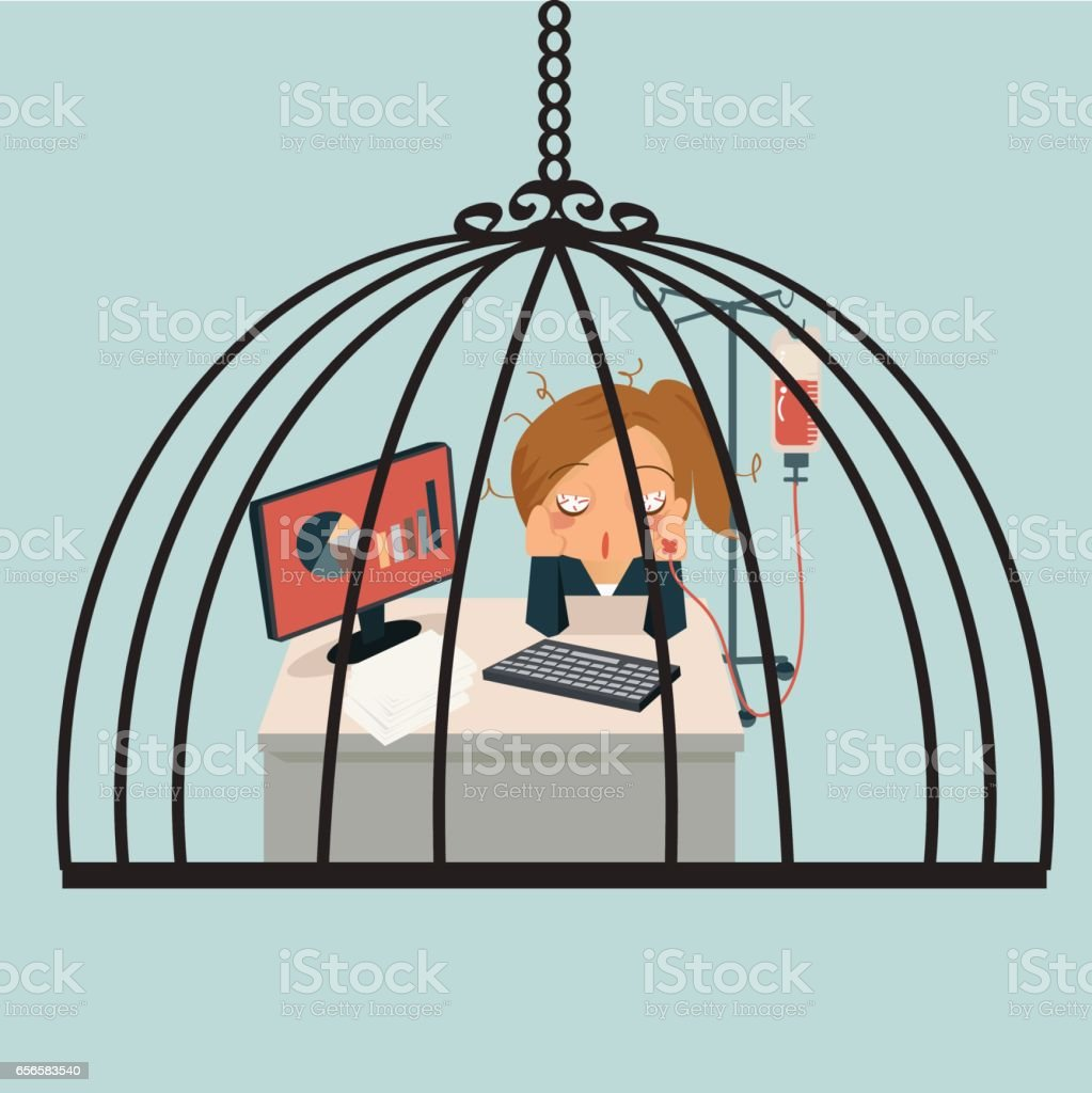 Businesswoman sitting in office, looking tired and her hand attaching intravenous tube to medicine dropper and stuck in birdcase..  Working very hard concept. vector art illustration