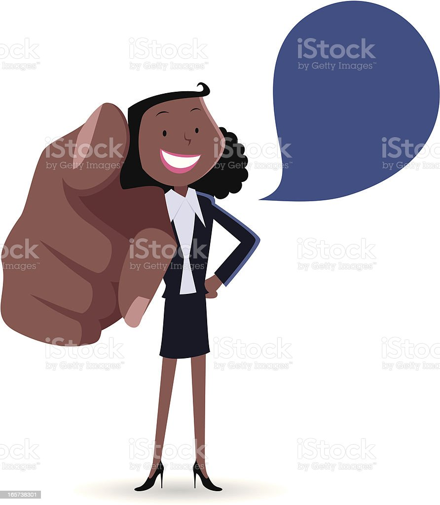 Businesswoman smiling and pointing at you royalty-free stock vector art