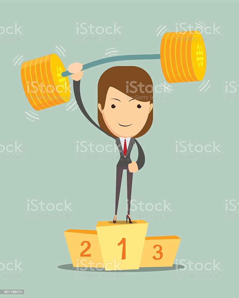 Businesswoman solves lightly every weight work vector art illustration