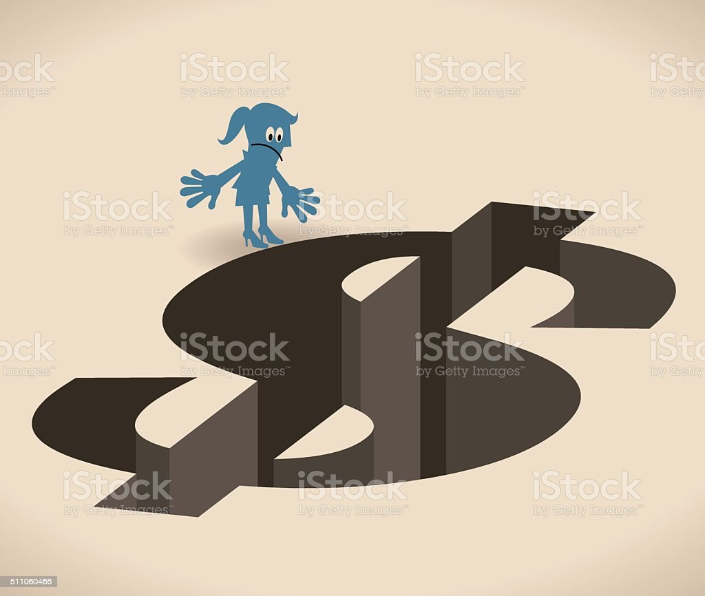 Businesswoman standing and looking down at a Dollar shaped hole vector art illustration