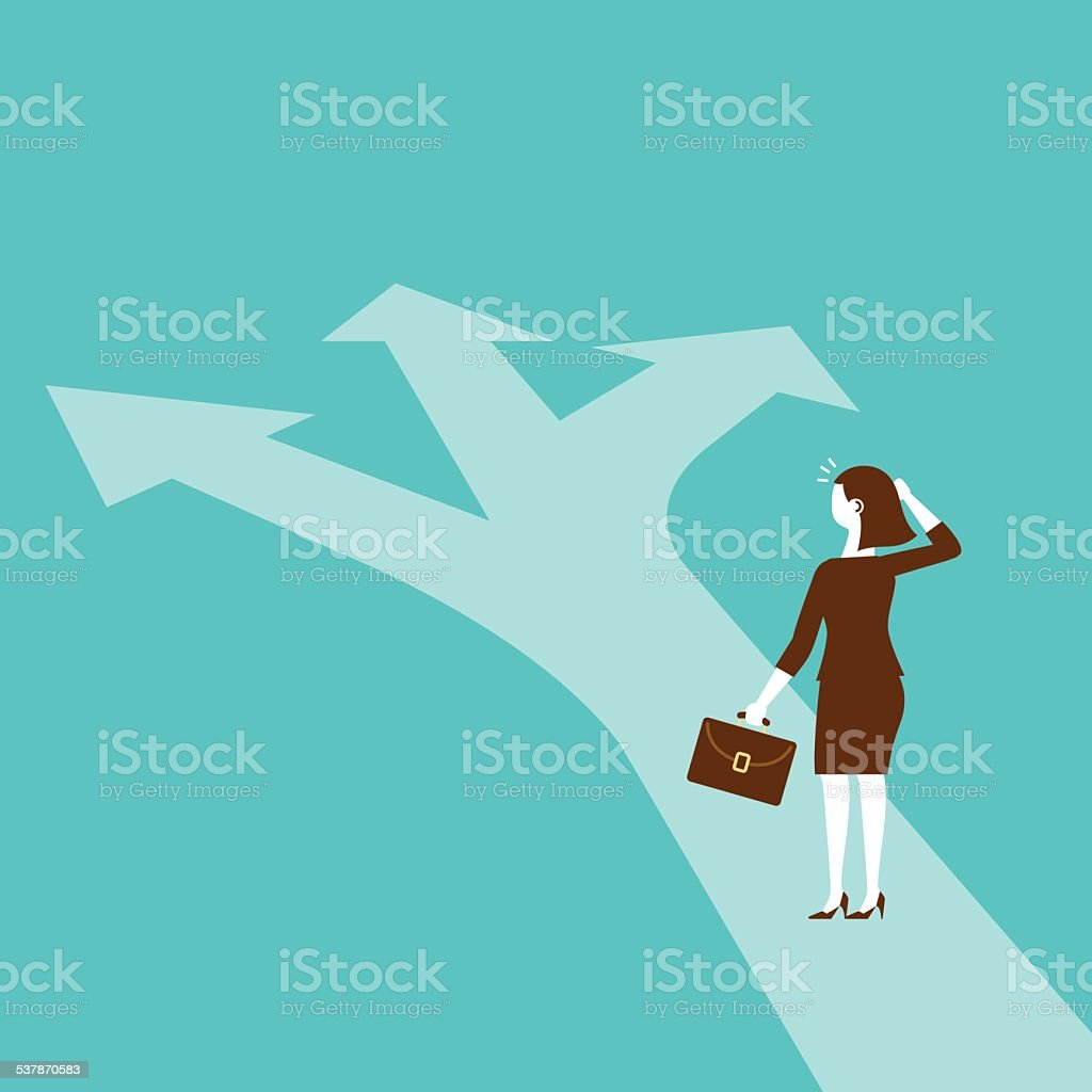 Businesswoman Standing at The Juncture | New Business Concept vector art illustration
