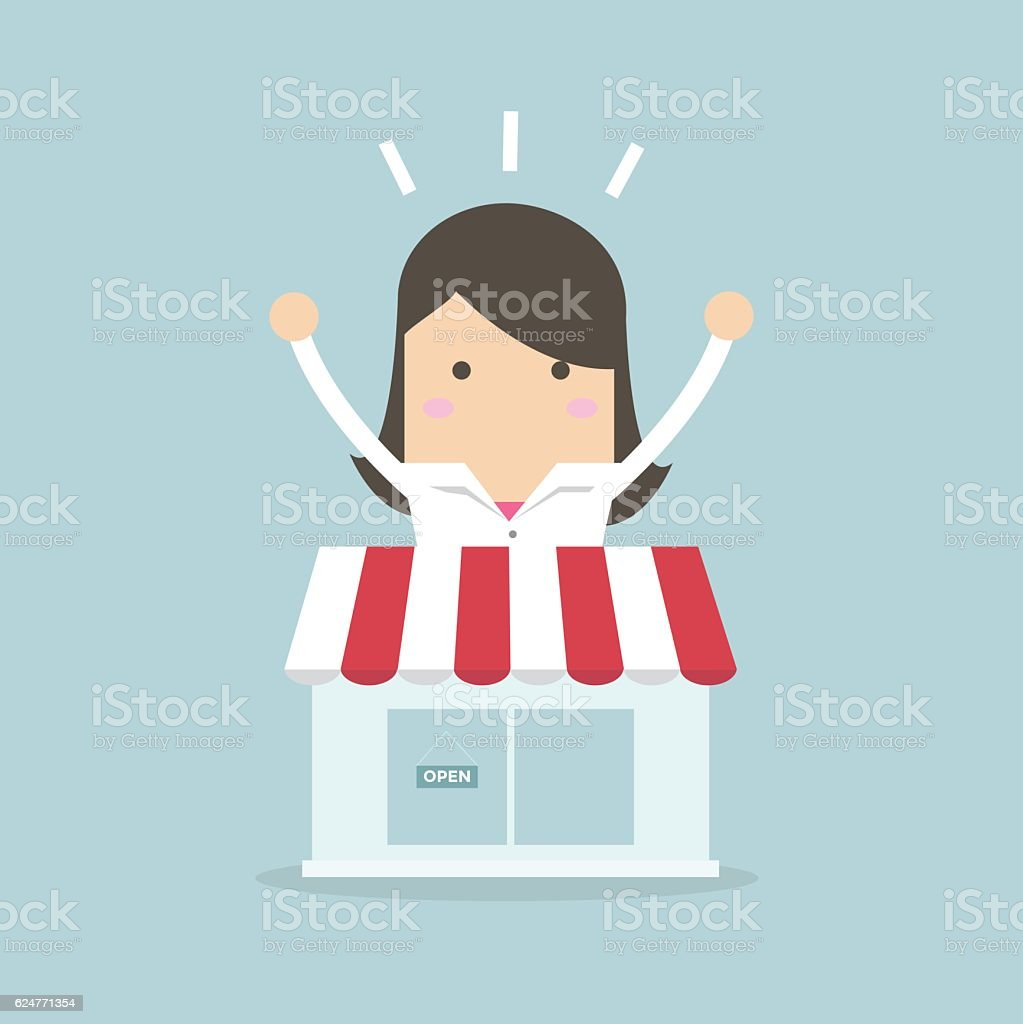 Businesswoman standing behind the shop vector art illustration