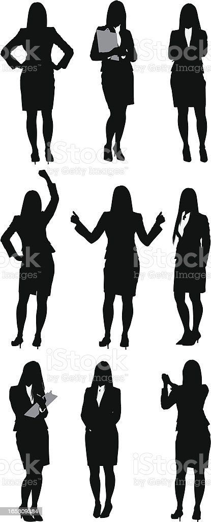 Businesswoman standing in different poses vector art illustration