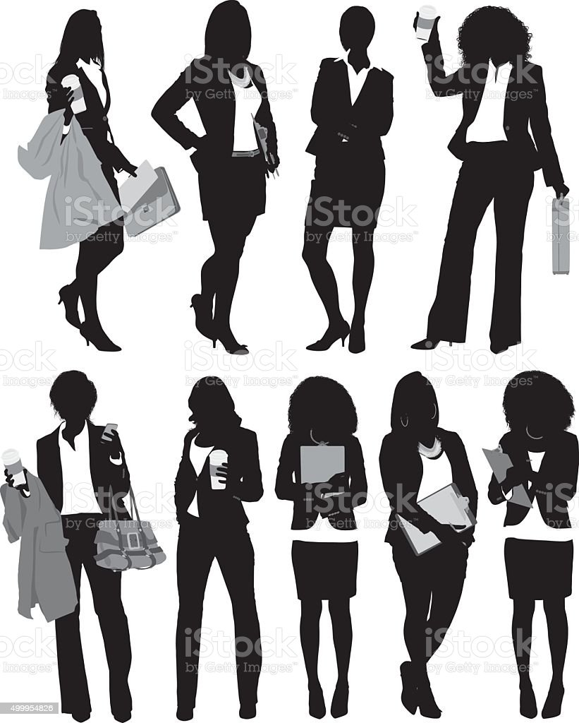 Businesswoman standing in various actions vector art illustration