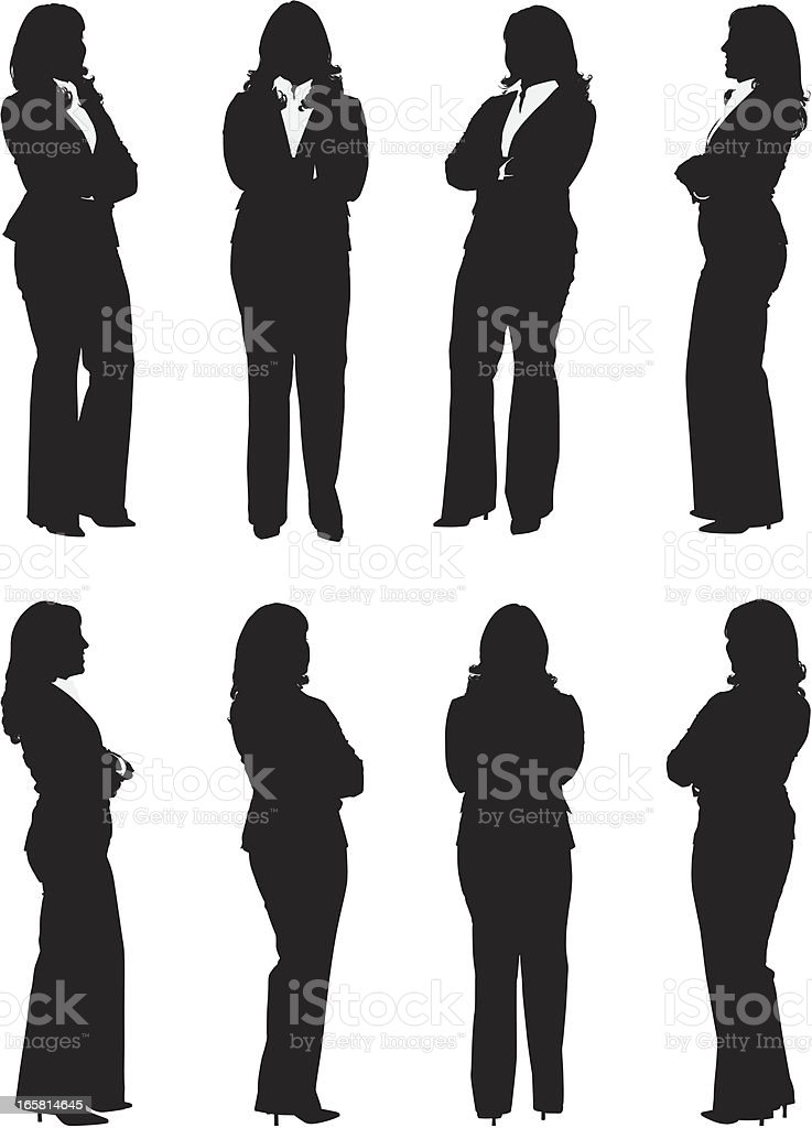 Businesswoman standing with her arms crossed royalty-free stock vector art