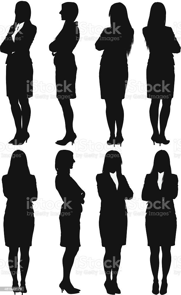 Businesswoman standing with her arms crossed vector art illustration