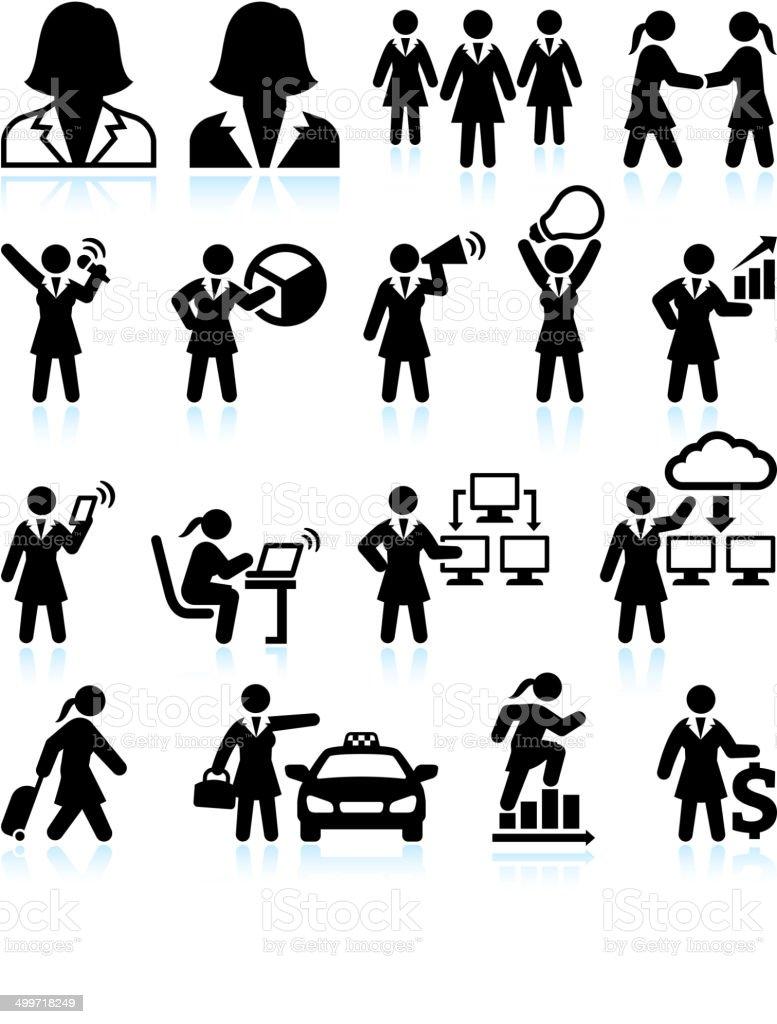 Businesswoman Success Stick Figure in Black & White Set vector art illustration