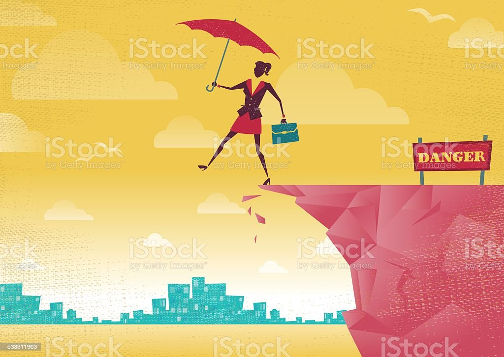 Businesswoman takes a leap of faith on Clifftop vector art illustration