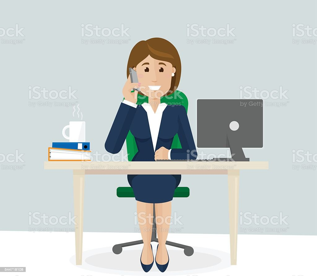 Businesswoman talk on th phone vector art illustration