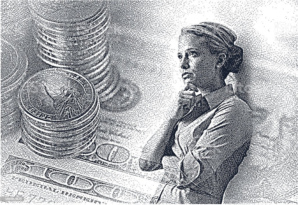 Businesswoman Thinking About Money vector art illustration