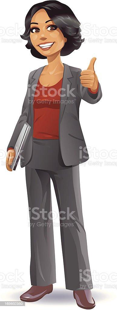 Businesswoman Thumb Up vector art illustration