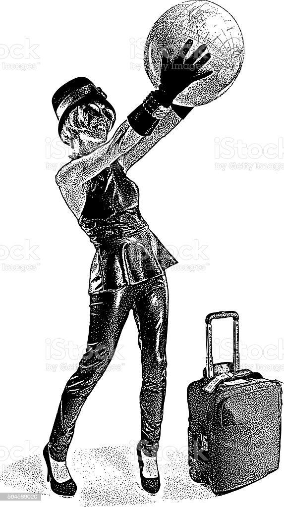 Businesswoman Traveling with carry-on luggage vector art illustration