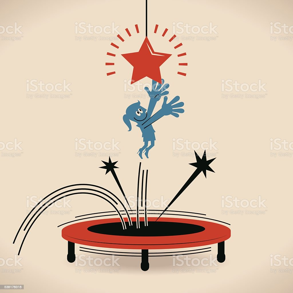Businesswoman trying to catch star by jumping on trampoline vector art illustration