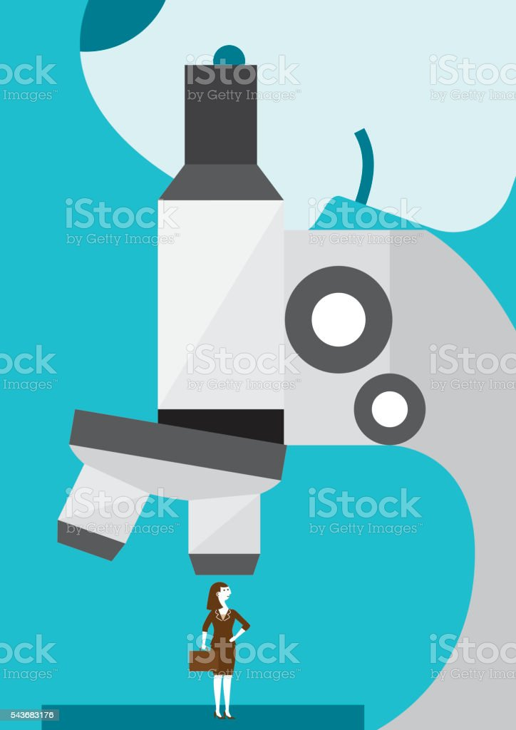 Businesswoman Under A Microscope   New Business Concept vector art illustration