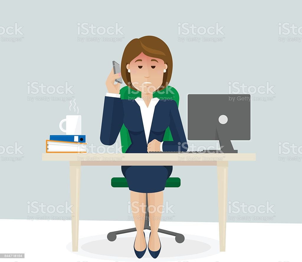 Businesswoman unhappy with a talk vector art illustration