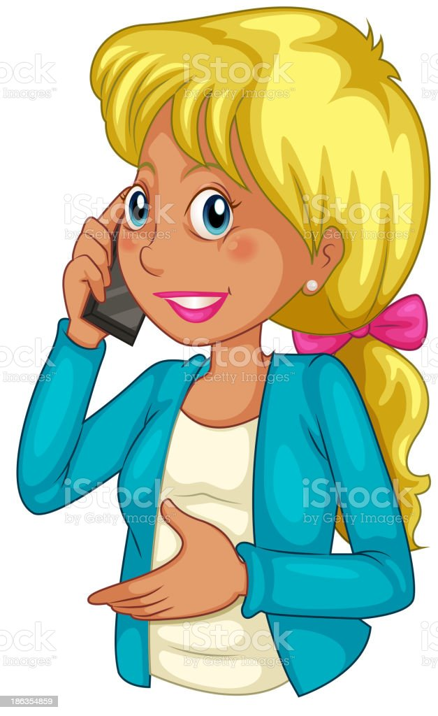 businesswoman using a cellphone royalty-free stock vector art