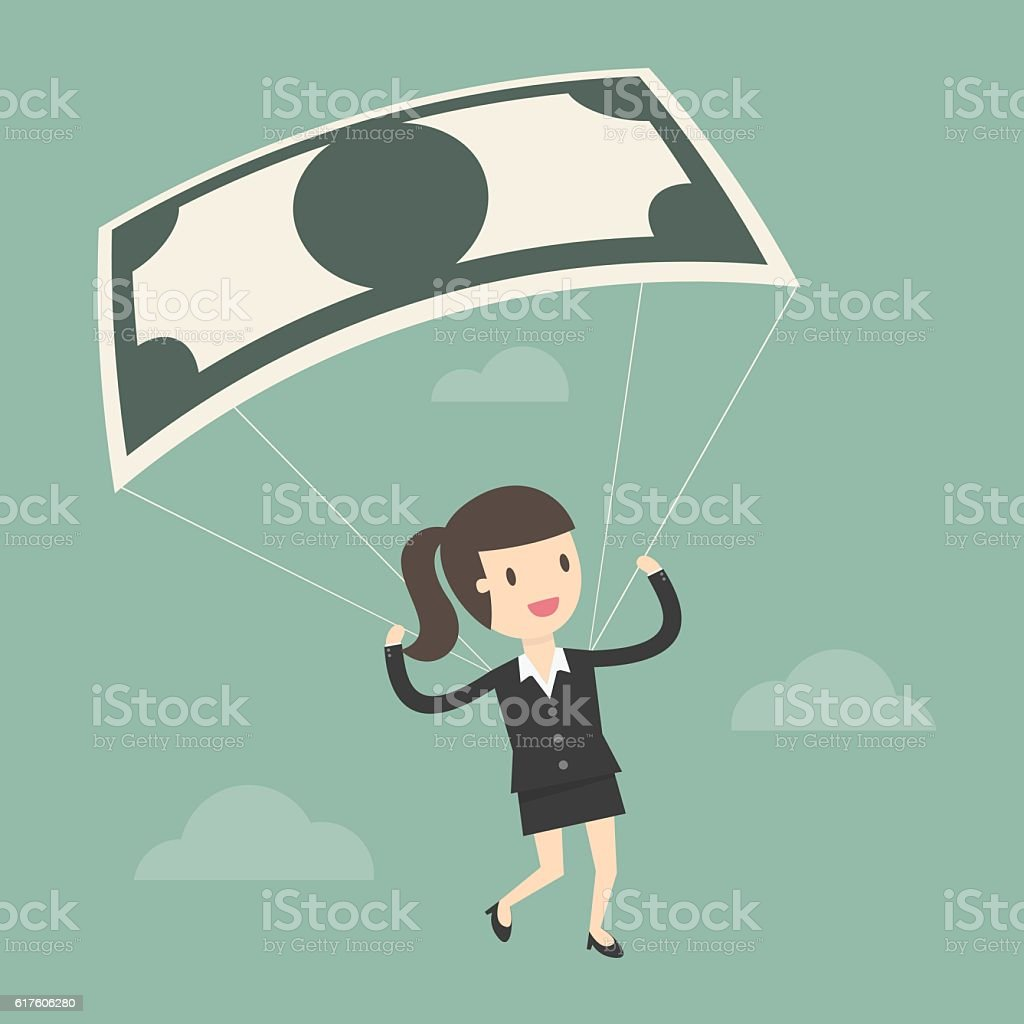 Businesswoman Using Bank Note As a Parachute. vector art illustration