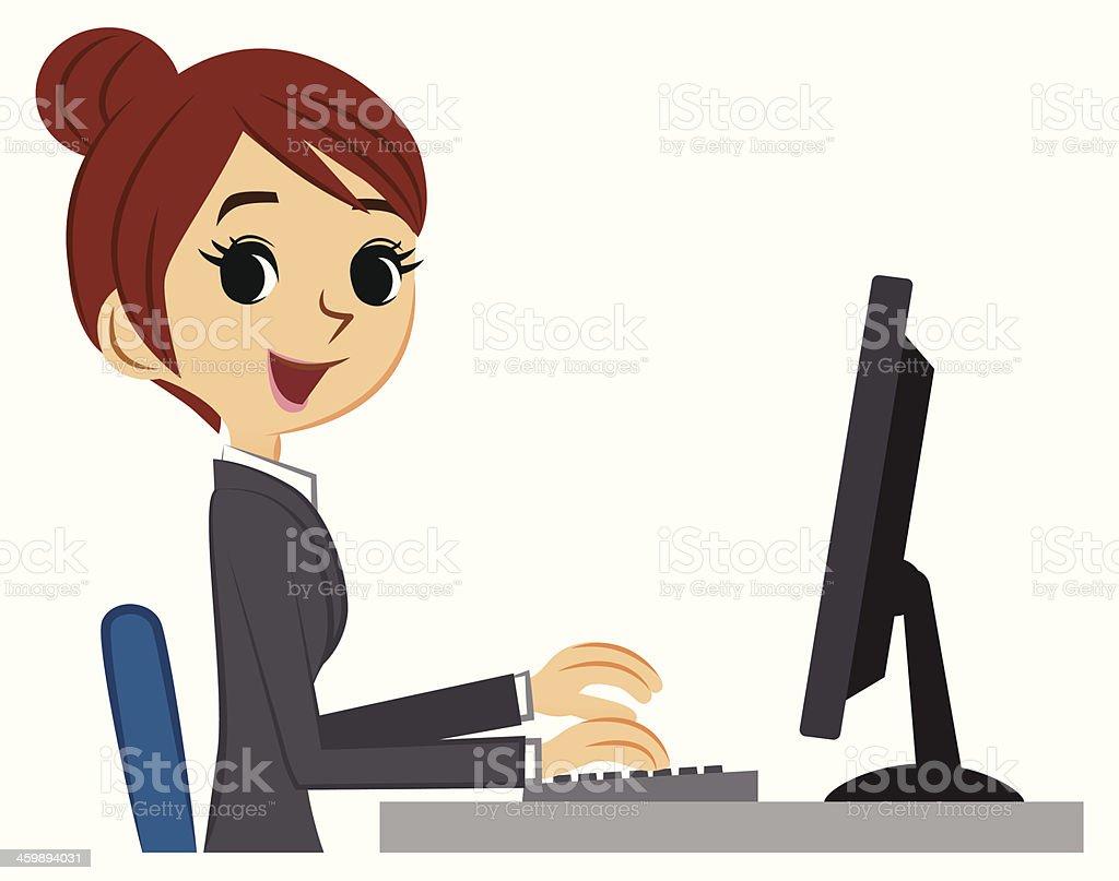 Businesswoman using computer vector art illustration