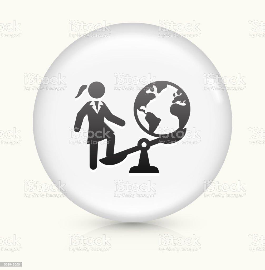 Businesswoman Vs. World icon on white round vector button vector art illustration