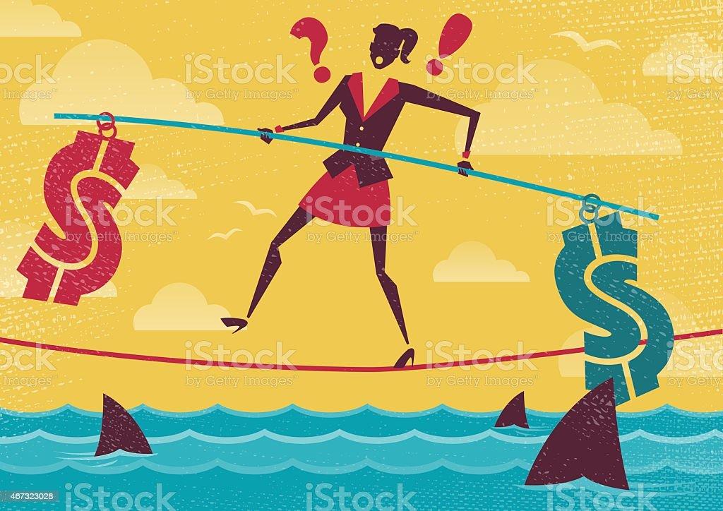 Businesswoman walks the Financial Tightrope. vector art illustration