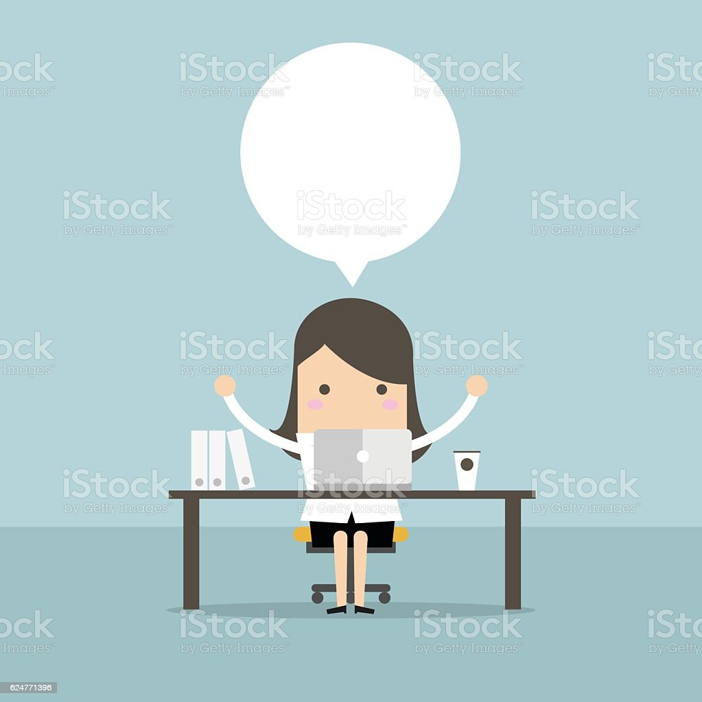 Businesswoman who sits at the table. vector art illustration