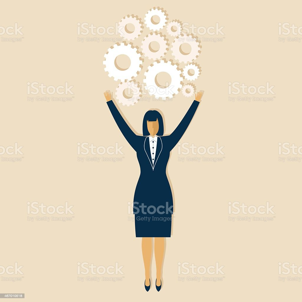 Businesswoman With Arms Up Filled With Gears vector art illustration