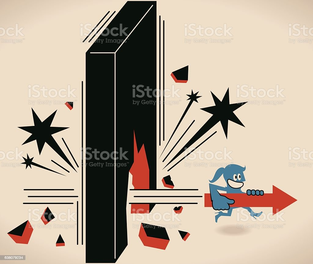 Businesswoman with arrow symbol running and breaking trough a wall vector art illustration