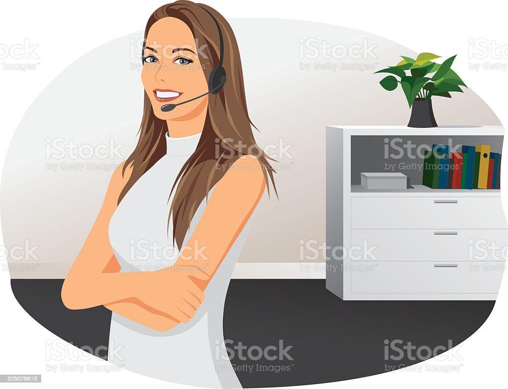 Businesswoman with headphones vector art illustration
