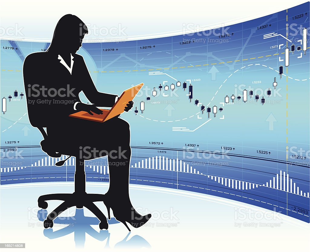 Businesswoman with laptop royalty-free stock vector art
