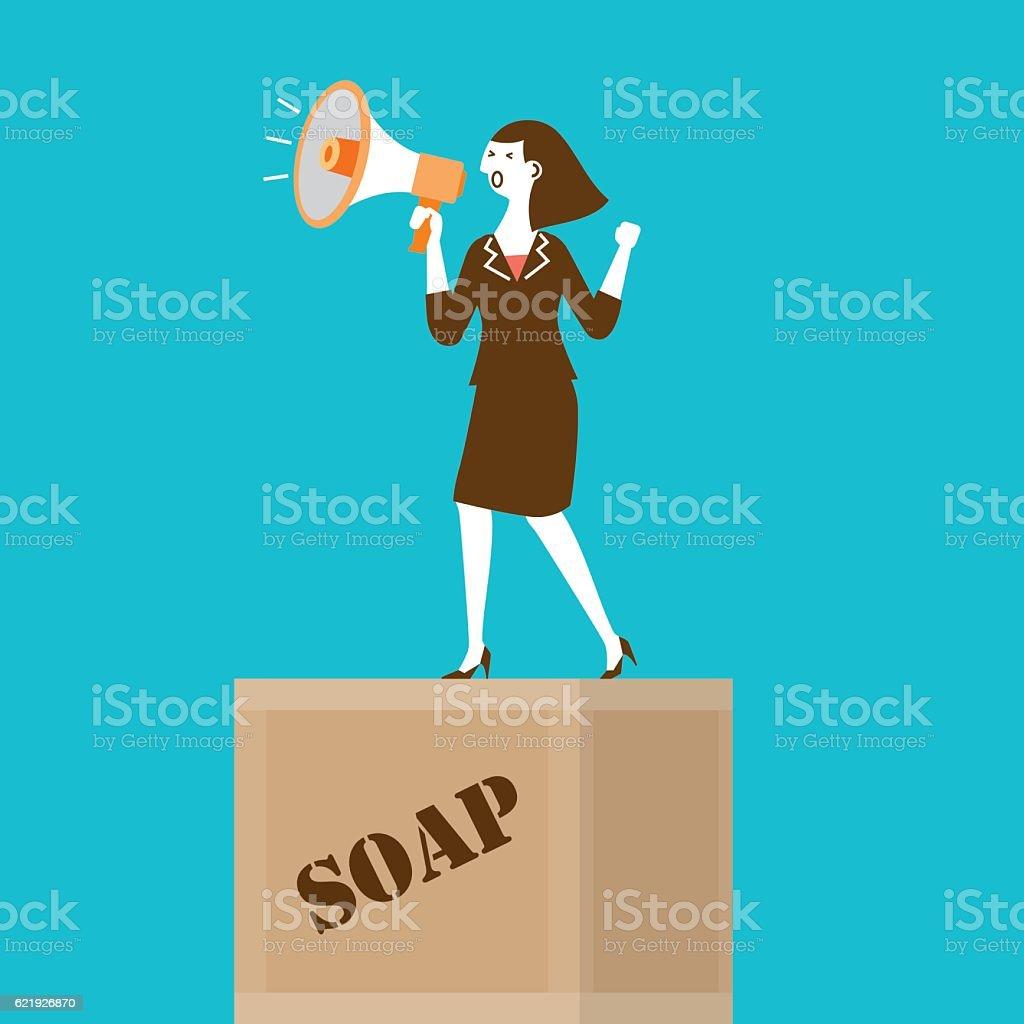 Businesswoman with Megaphone on Soapbox   New Biz series vector art illustration