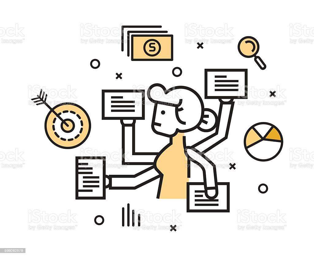Businesswoman with multi tasking work. vector art illustration