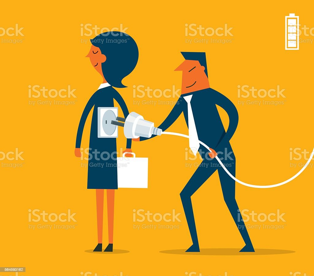 Businesswoman with plug in charge vector art illustration