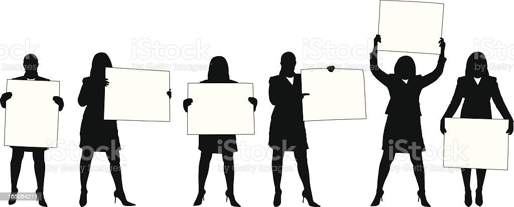 Businesswoman with Sign Series vector art illustration