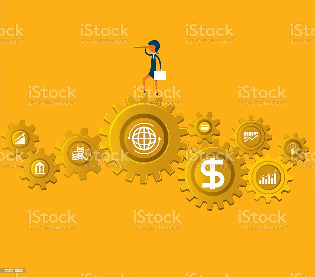 Businesswoman with spyglass vector art illustration