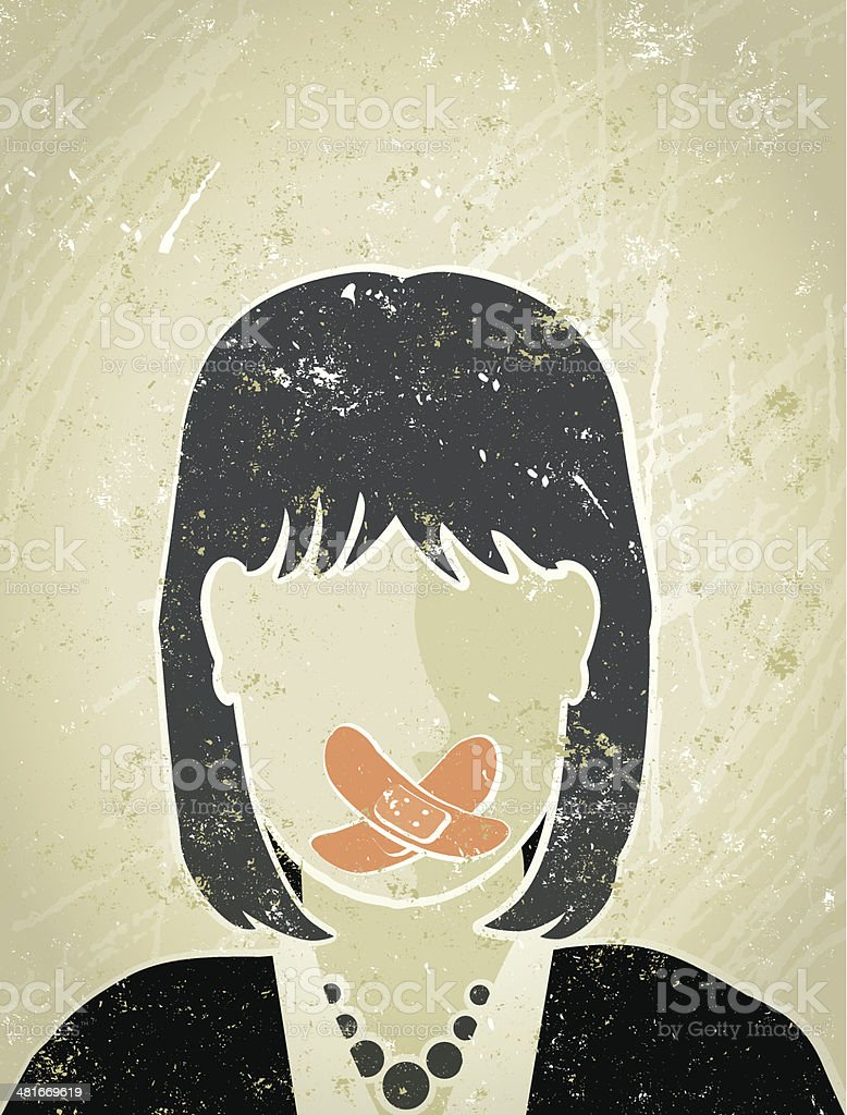 Businesswoman with Sticking Plaster over Her Mouth royalty-free stock vector art