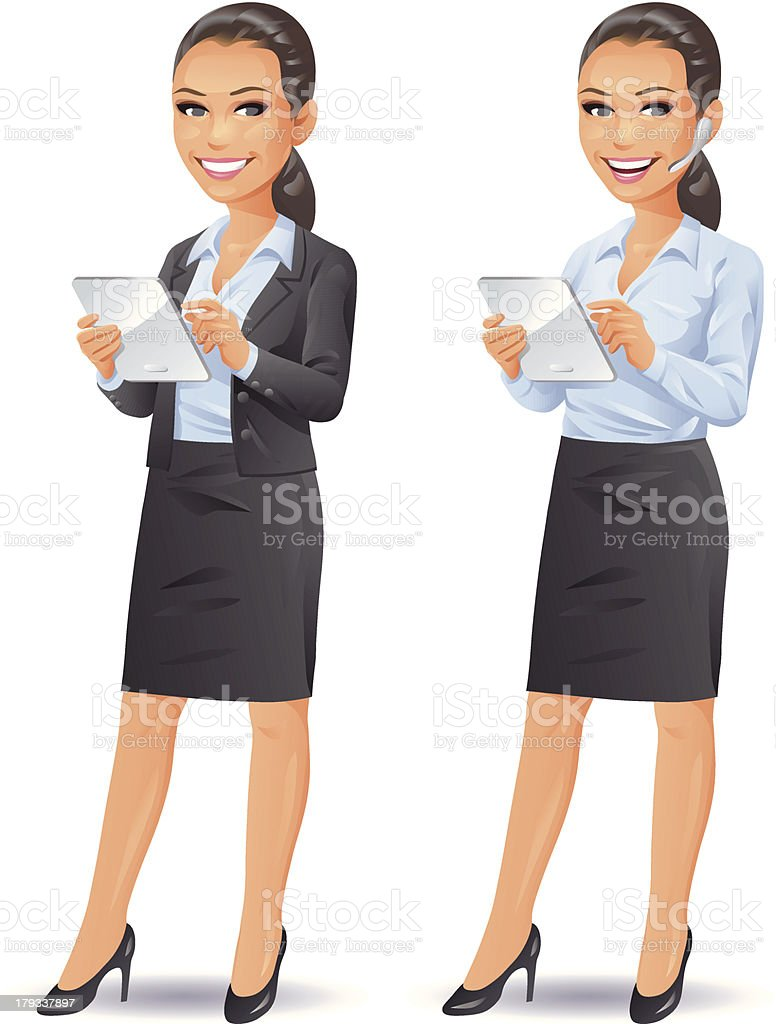 Businesswoman With Tablet Computer vector art illustration