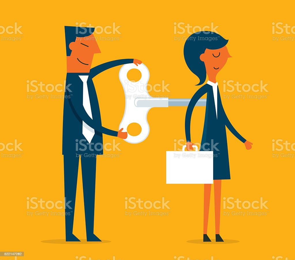 Businesswoman with wind-up key vector art illustration