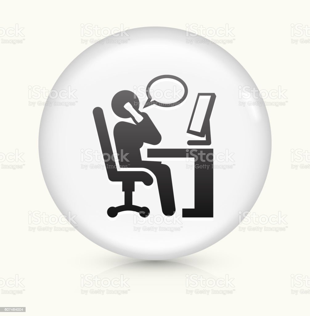 Businesswoman Working icon on white round vector button vector art illustration