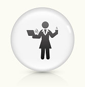 Businesswoman Working icon on white round vector button