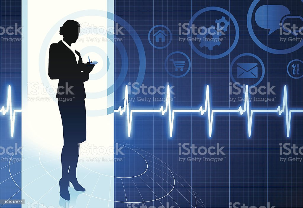 Businesswoman working with cellphone on internet pulse icon background royalty-free stock vector art