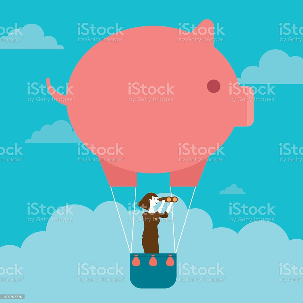 Businesswoman's Piggy Bank Hot Air Balloon Outlook | New Business vector art illustration
