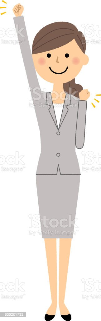 Businesswoman,Victory Pause vector art illustration
