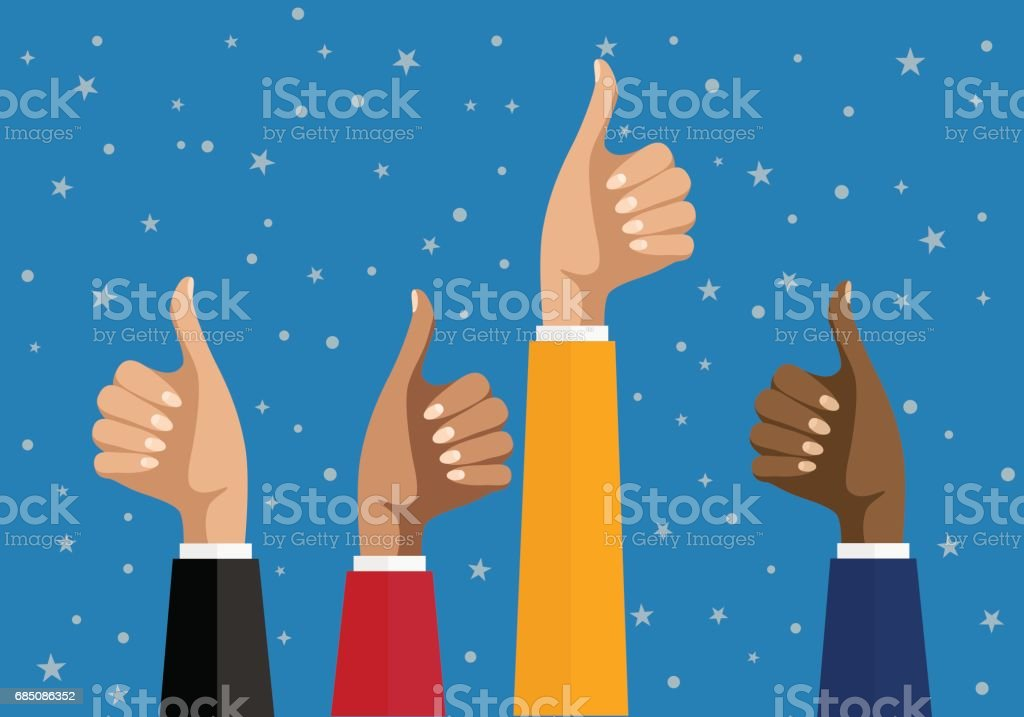 Businesswomen hands hold thumbs up. vector illustration in flat design. Financials, work motivation vector art illustration
