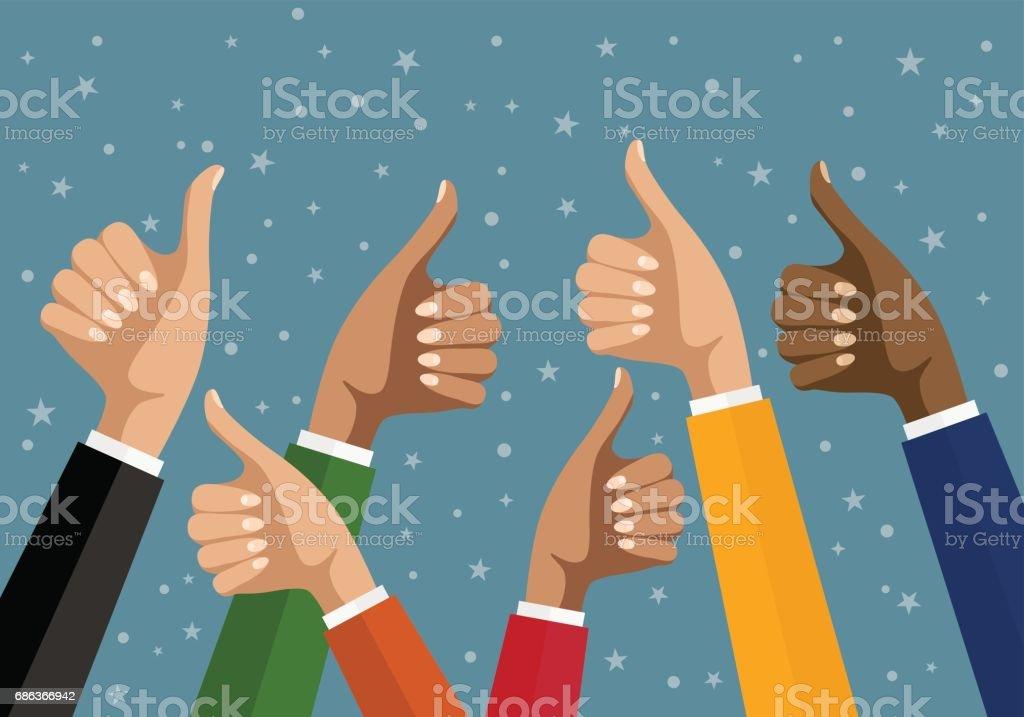 Businesswomen hands hold thumbs up. vector illustration in flat design. Financials, work motivation vector art illustration