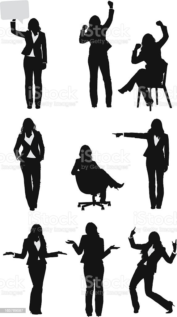 Businesswomen vectors in different positions vector art illustration