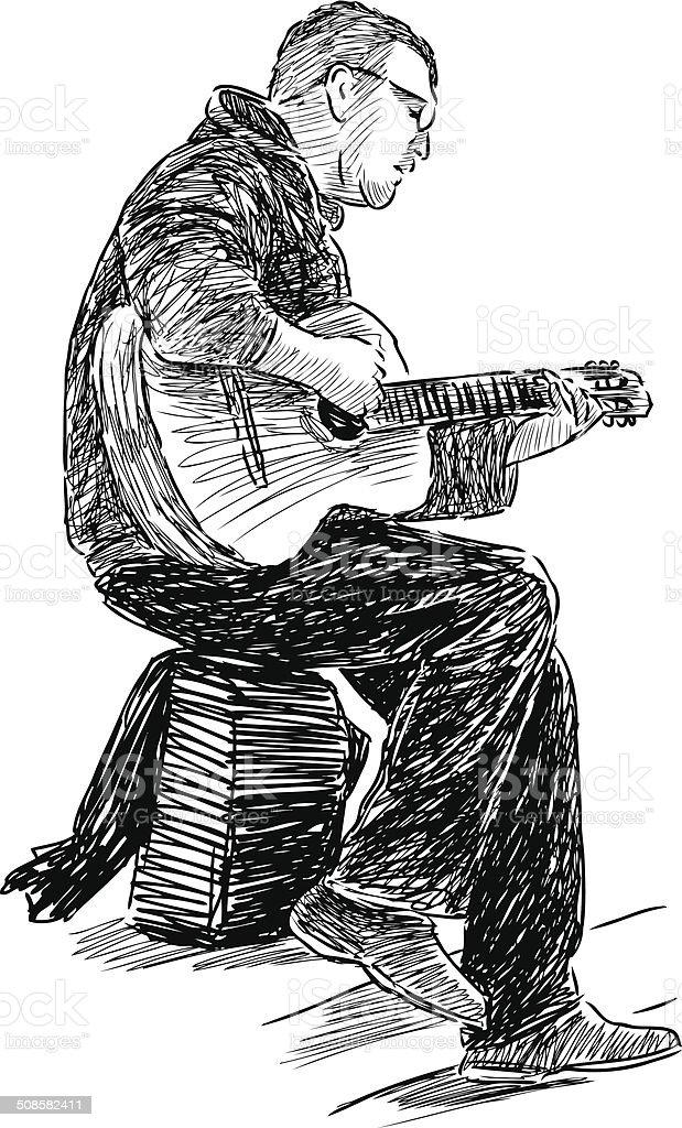 busker vector art illustration